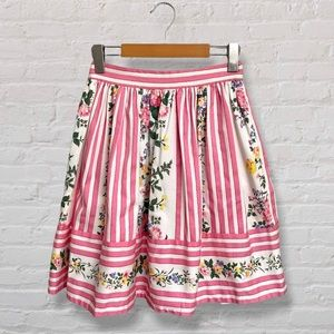 Betsey Johnson Cottagecore Floral and Pink Striped Pleated High Waisted Skirt